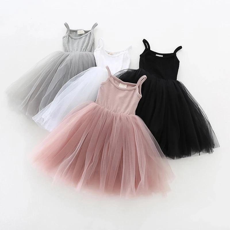 Летнее платье для девочек 4 цветов, повседневная одежда для маленьких девочек, платья для маленьких детей, хлопковое платье-пачка для девочек, платье принцессы на день рождения