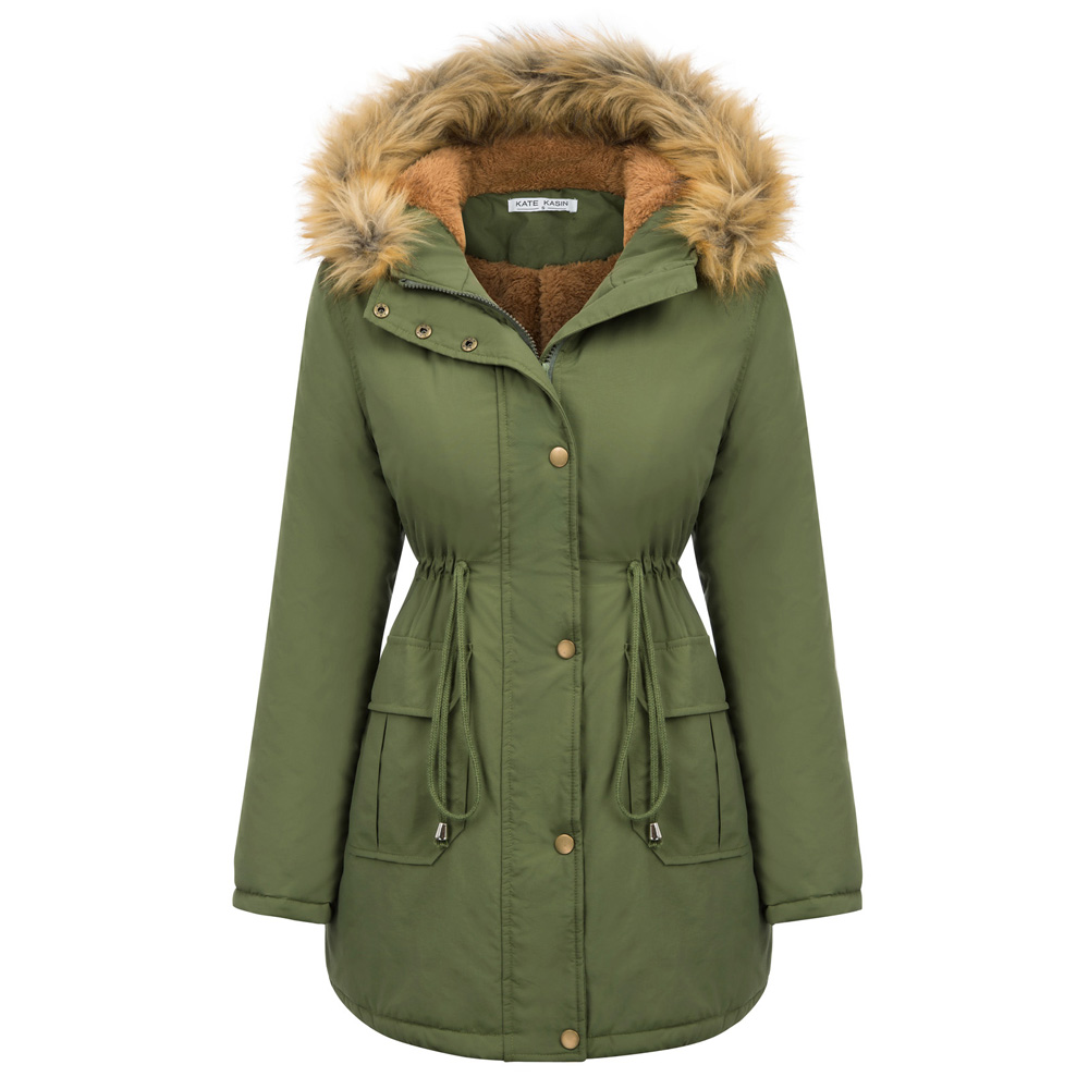 Army Green Women Winter coat Warm Thicken Fleece Lined Hooded   parkas   solid color pockets slim waist Outerwear Padded Coat lady