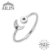 AILIN Moon Stars 12 Constellation Rings Couple Friendship Gifts Astrology Wedding Birthday Punk Style Open Finger Ring For Love