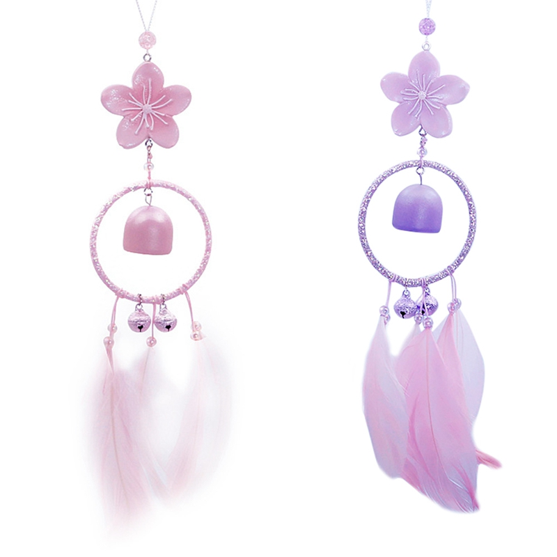 Handmade Resin Wind Chimes With Feathers Beads For Wall Car Hanging Decor Ornament Craft Gift Home Art Pendant