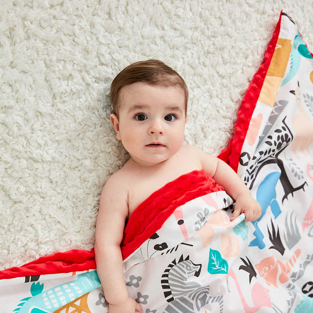 Weiche Atmungsaktive Neue 100% Baumwolle Cartoon Baby Decke Beanie Kinder Quilt Peas Decke Für Kinderwagen Baby Wagen Kinderwagen Abdeckungen
