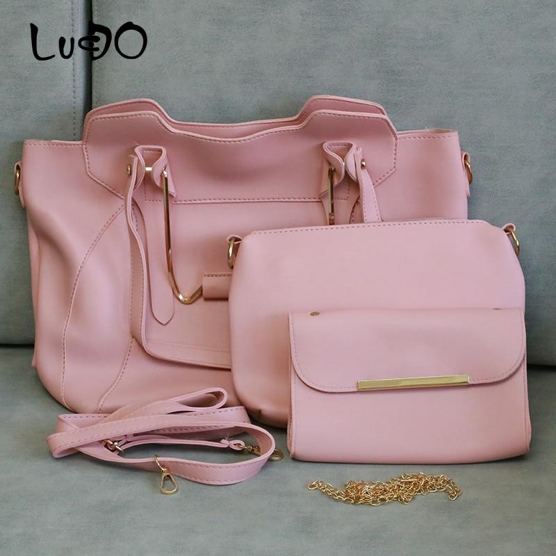 LUCDO Fashion 3 PCS Sets Women Handbag High Quality Leather Totes Bag Ladies Composite Bag Shoulder Messenger Purse Bags Bolsa