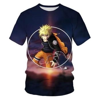 Fashion 3D Men's T-shirts Naruto Personality Printed T-shirts Men's Street Clothing Round Neck t-shirt for men navy basic knit round neck t shirts