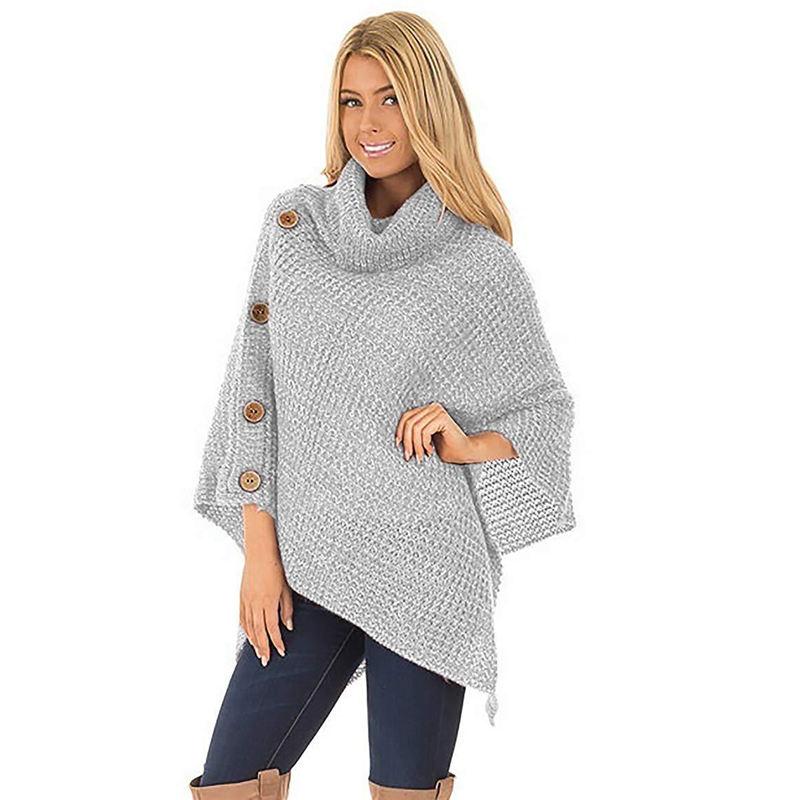 Casual Women Sweater Cotton High-necked Loose Irregular Tops Knitted Personality Button Solid Lady's Sweater Streetwear