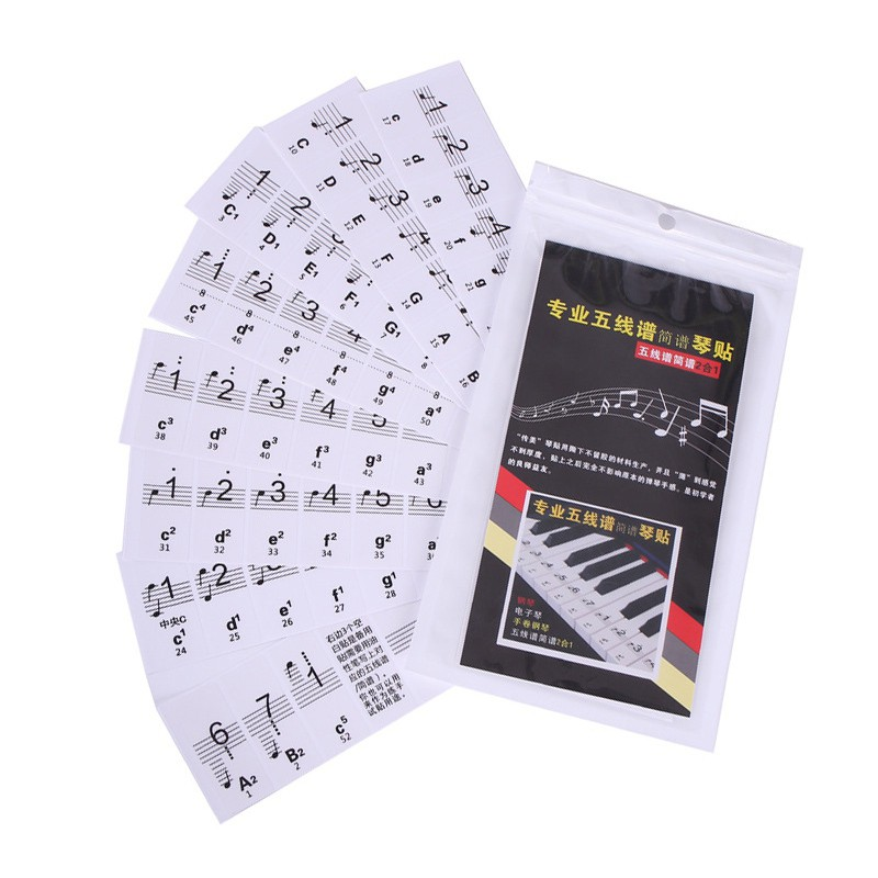 61/88 Key Piano Keyboard Sticker Transparent Easy To Use Piano Stave Note Sticke Electronic Keyboard Piano Sticker Key