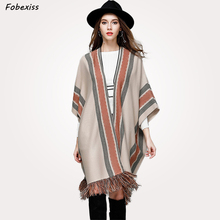Cape Woman Knitted Tassel Striped Gypsy Autumn Coat Fringe Ethnic Long Cloak Shawl Collar Poncho Fashion 2019