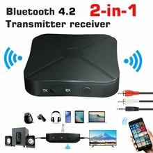 2in1 Bluetooth 4.2 alıcı verici ses müzik Stereo kablosuz adaptör ses dönüştürücü A2DP RCA 3.5MM AUX Jack TV araba PC