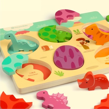 Wooden puzzle dinosaur puzzle children's puzzle 3-6-8 years old baby intelligence boy girl wooden puzzle cognitive game фото