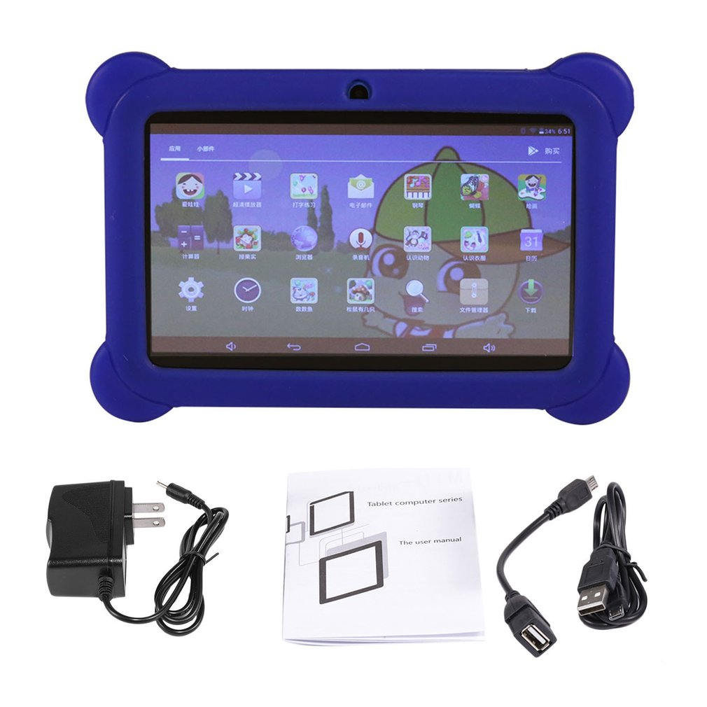 7 Inch Children Tablet Q88 512MB+4GB A33 Quad Core 0.3MP Dual Camera 1024*600 Wifi Android 4.4 Tablet PC With Silicone Cover