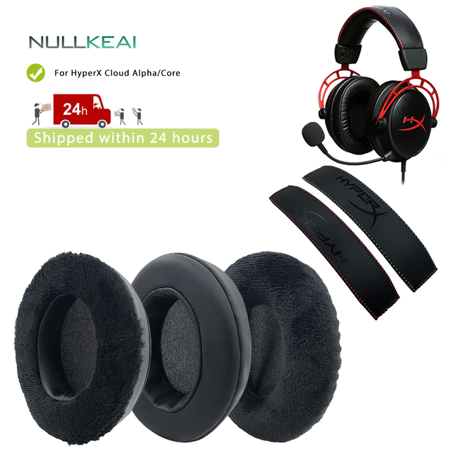 NULLKEAI وسادات أذن من الجلد المخملي ، من أجل HyperX Cloud Alpha ، Cloud Core ، سماعات أذن عالية الجودة