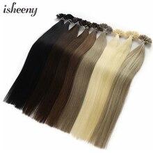 "Isheeny 12 ""14"" 18 ""22"" Remy Keratine U Tip Hair Extensions Silky Straight Pre Bonding Human haarverlenging Natuurlijke 50pcs"