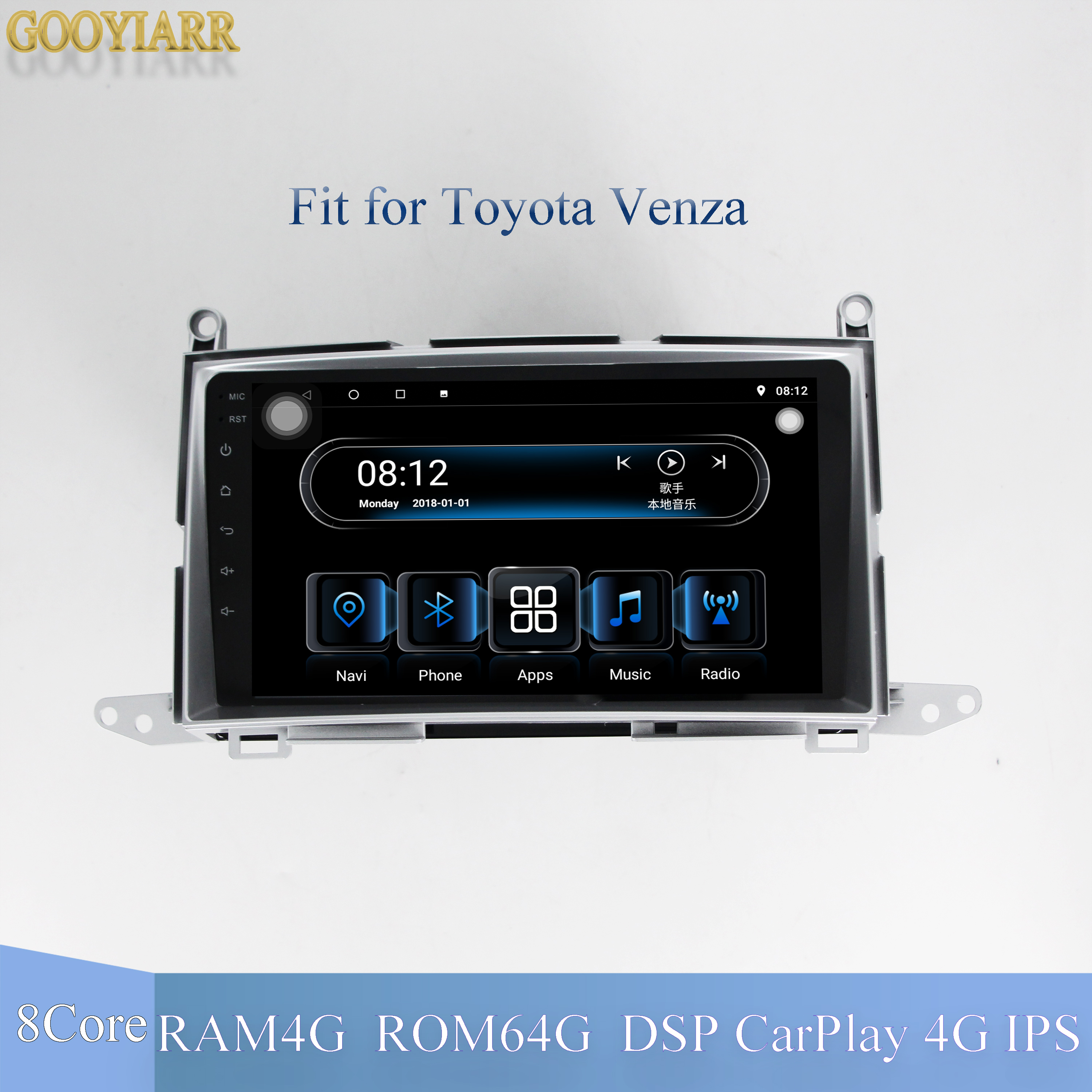 9'' 1din IPS Car Android9.1 Stereo Radio 8core RAM4G+ROM64G Multimedia Player For Toyota Venza 2008-2015 With CarPlay 4G DSP BT