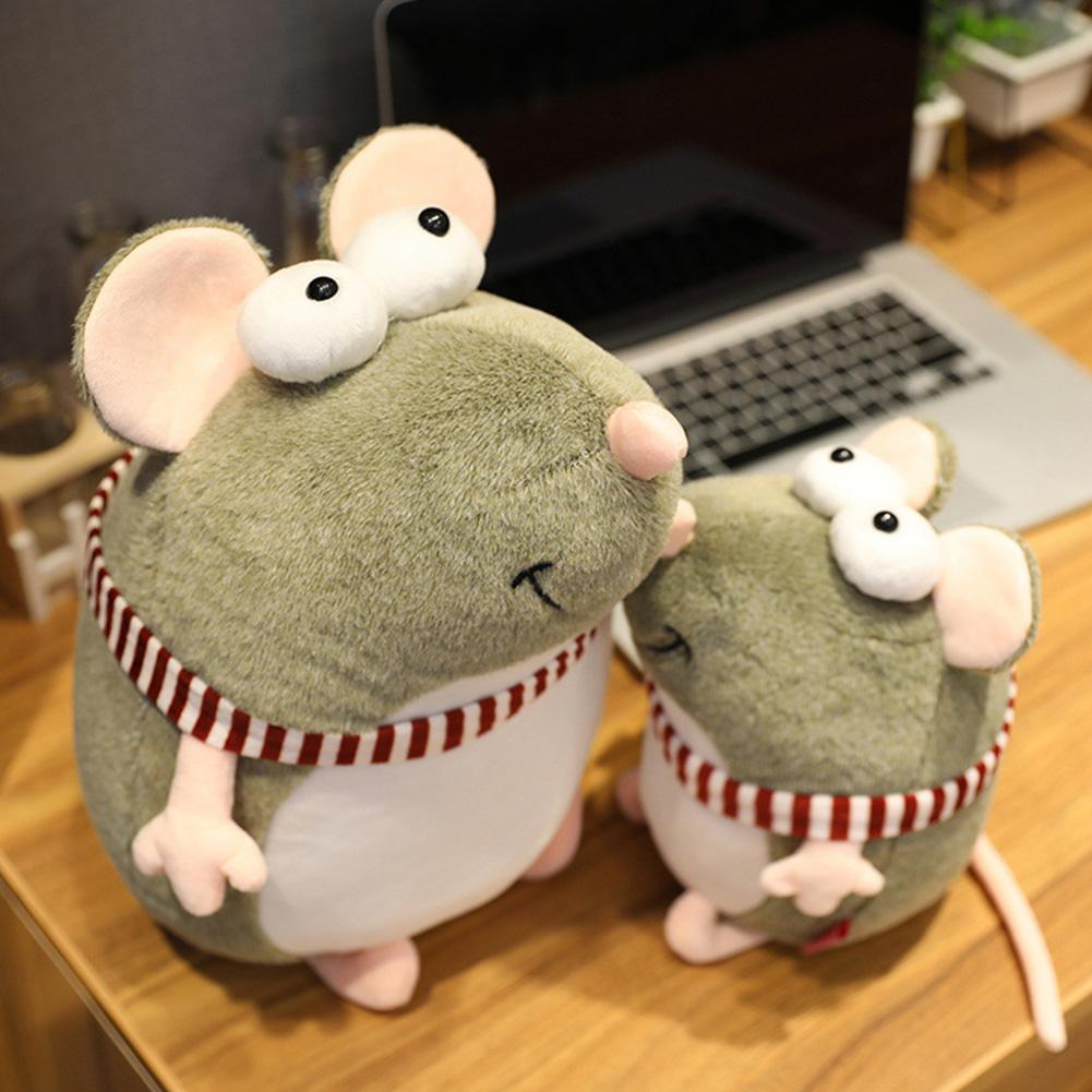 Cute Dummy Big Eyed Mouse Doll Cartoon Plush Toy Lovely Fat Grey Rat Pillow Stuffed Animal Plush Toys Girls Gift Rat Year Mascot