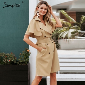 Image 3 - Simplee button Solid increspato manica del vestito delle donne Elegante cinghia del telaio ufficio delle signore trench vestito Con Scollo A V scialle vestito da partito abiti