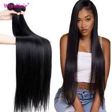 Liweike cabelo humano em linha reta 1b cor natural 3 pacotes negócio 100% remy cabelo 3 pçs peruano tece pacote