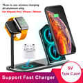 For Apple Airpods Pro iPhone iWatch Series 5 Fast Wireless Charger Stand Dock 3 in 1 Aluminum Alloy Charging Station Base