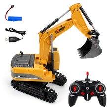 2.4g rc escavadeira elétrica mini buldozer de controle remoto 1:24 liga de engenharia de plástico caminhão de carro brinquedo do veículo guindaste basculante para o menino
