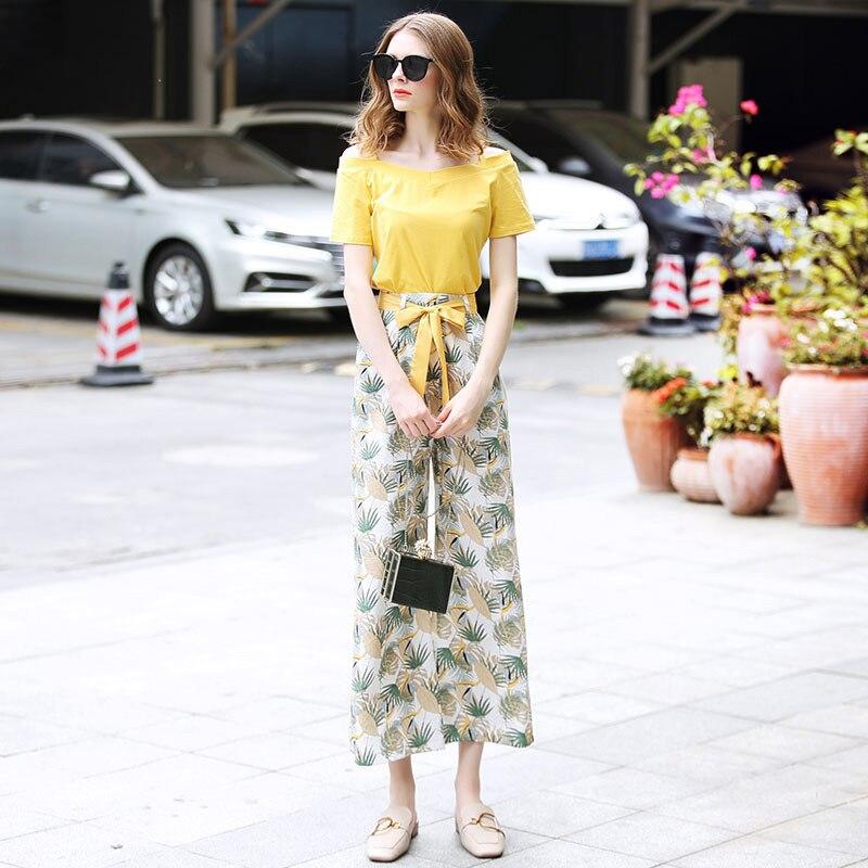 Ozhouzhan 2019 Summer Wear WOMEN'S Dress New Style Off-Shoulder Camisole T-shirt + Printed Loose Pants Fashion Set Fashion
