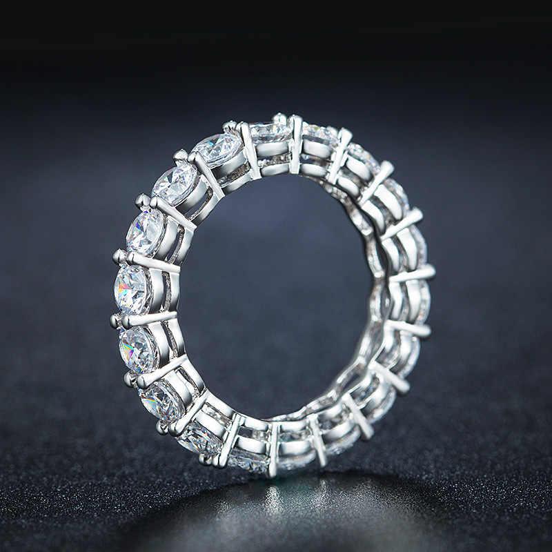 เครื่องประดับ ORSA ของแท้ 925 Full Circle Sapphire แหวนเงินอุปกรณ์เสริม Silver & Rose สีเงาแหวนเครื่องประดับ SR167