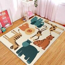 Nordic cartoon style 3D animal carpet bedroom living room crystal velvet Printed digital crawling mat Non-slip foyer home