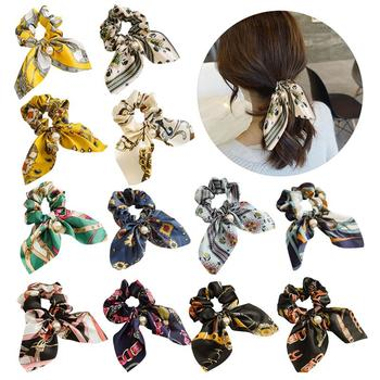 12pcs Chiffon Floral Printed Bowknot Silk Hair Scrunchies Women Pearls Ponytail Holder Hair Tie Hair Rope Hair Accessories 1