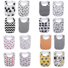 Fashion Newborn Cotton Bib Towel Digital Printing Baby Bibs Double Thick Absorbent Square Towel for Feeding Infant Babador