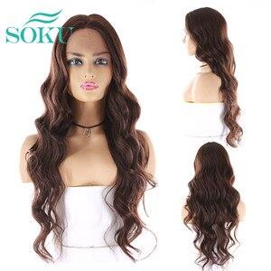 Image 4 - SOKU Ombre Blone סינטטי תחרה מול פאות ארוך גלי התיכון חלק תחרה שיער פאות חום עמידה עבור שחור נשים
