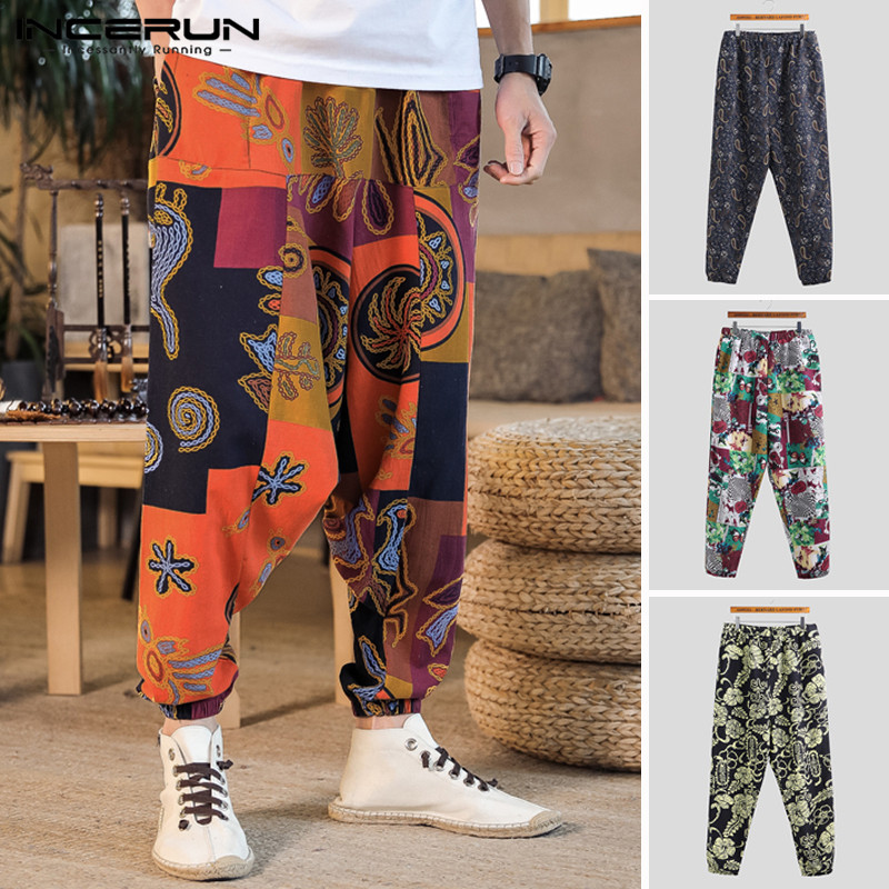 INCERUN Men Harem Streetwear Drop-Crotch Pants Dance-Trousers Print Hip-Hop Vintage Baggy