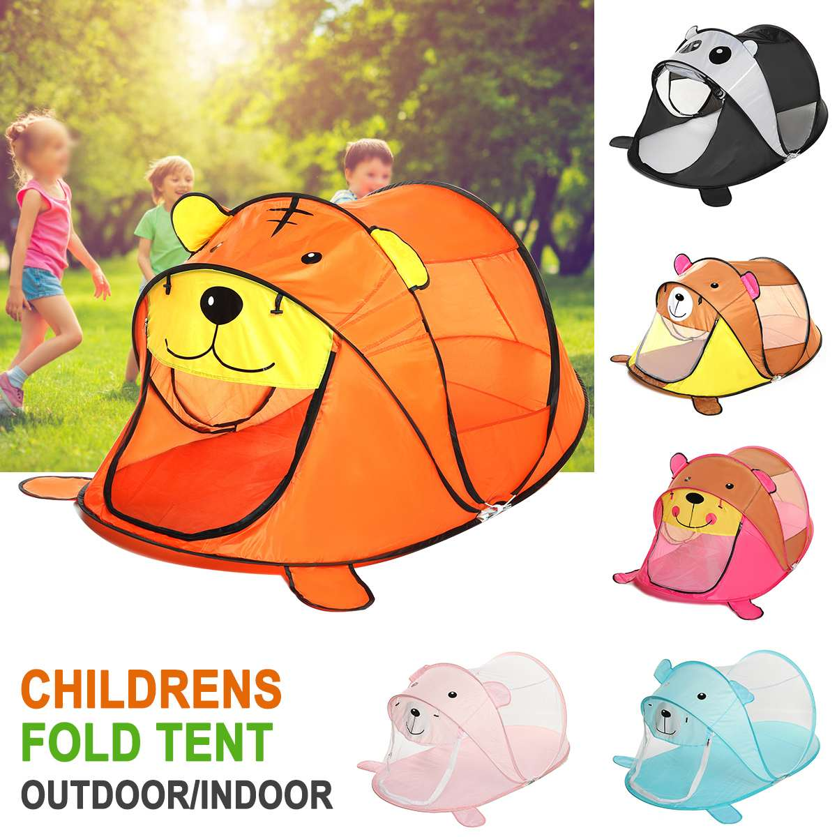 Portable Tiger Children's Tent Cartoon Animal Kids Play House Outdoors Large Toy Tent Indoor Nets Baby Ball Pool Toys Sea Ball
