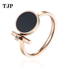 цены Hot Fashion Luxury Jewelry Ring Exquisite Beauty Black Enamel And Zircon Stainless Steel Rose Gold Color Brand Ring For Women