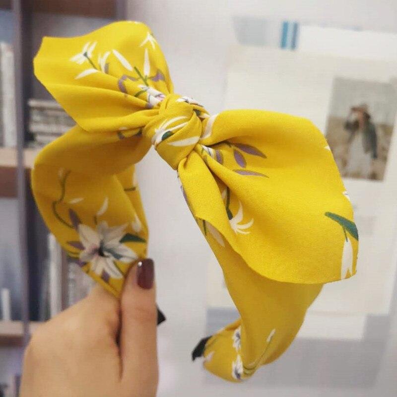 Print Chiffon Headbands Hairbands For Women Bow Knotted Hair Bands Girl Lady Bow Hair Hoop Hair Accessories Headwear Hairband