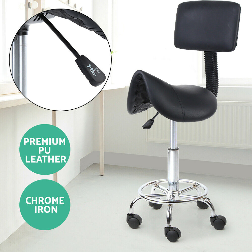 Modern Dental Roll Saddle Swivel Chair PU Leather Dentist Tattoo Massage Facial Spa Rolling Stool With Back Rest Barber Chair