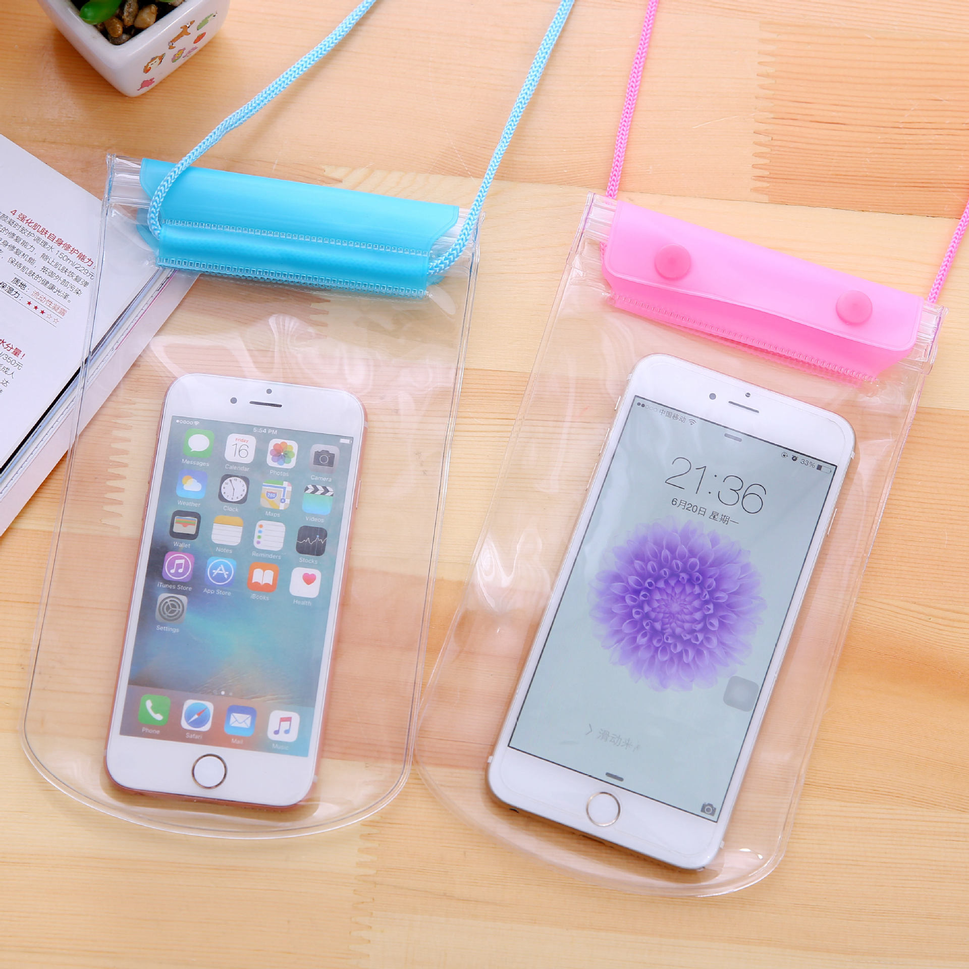 Three Layer Thick Waterproof Cellphone Bag Transparent Touch Screen Hot Springs Swimming Waterproof Mobile Phone Bag Large Size