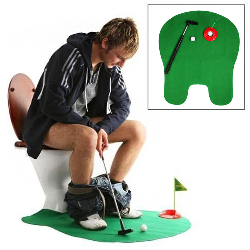 Bathroom Funny Golf Toilet Time Mini Game Play Putter Novelty Gag Gift Mat Set