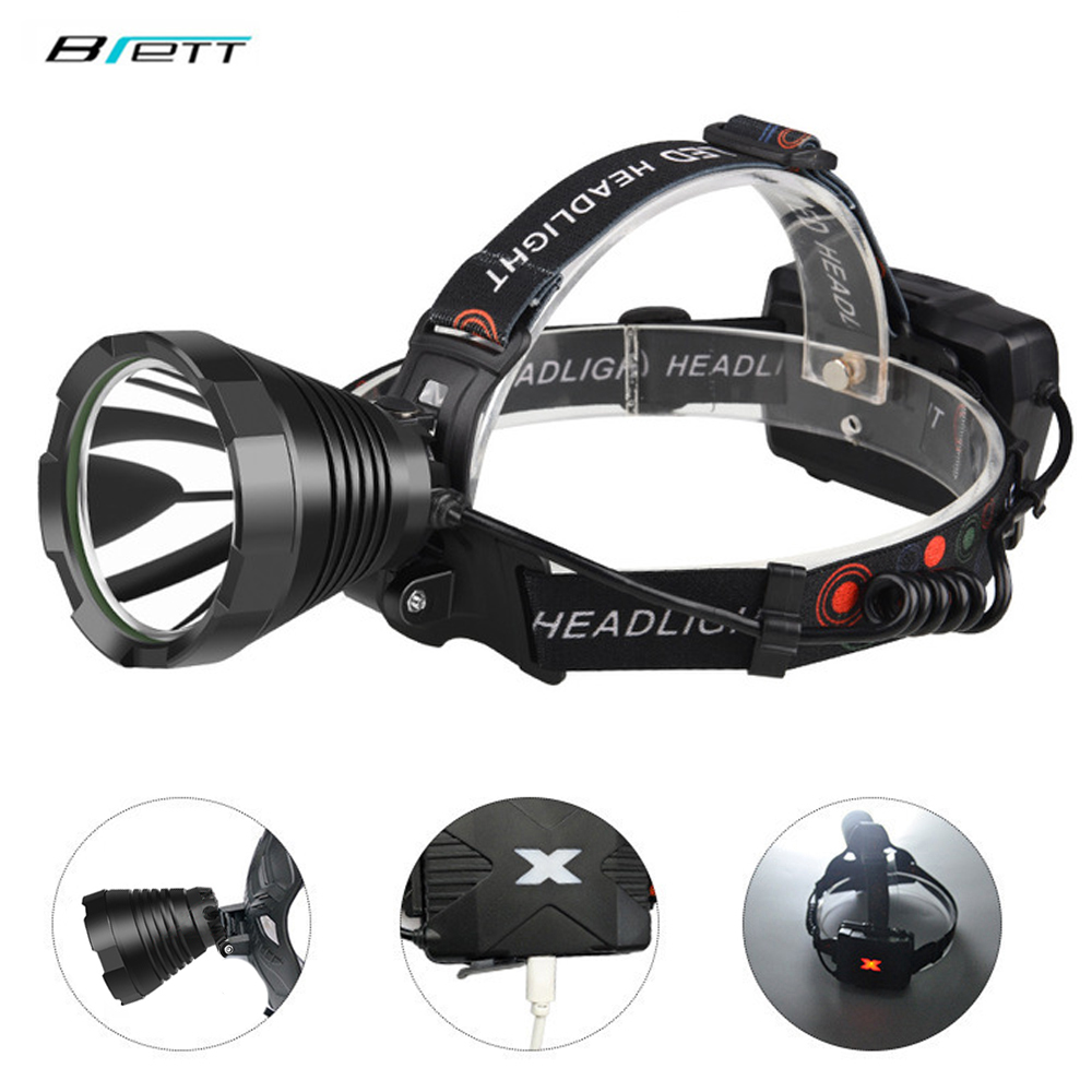 LED Head Lamp T40 Or T20 Light Use 18650 Battery USB Charging Outdoor Hunting Cave Work Waterproof Bicycle Led Headlight
