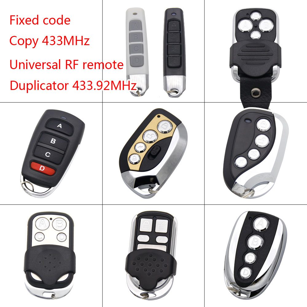 Universal 433.92 Mhz Duplicator Copy Garage Gate Remote Control For Fixed Code 433mhz Transmitter Keychain Opener Command