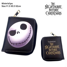 Cartoon The Nightmare Before Christmas Short Wallet Jack Skellington Pu Boys Girls zipper Card Holder Leather small coin Purse(China)