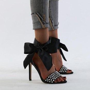 HMYONS Silk Women Heeled Sandals Butterfly-knot cross Strap Pumps Super High Heels 12 CM Peep Toe Buckle Strap Dress Lady Shoes цена 2017