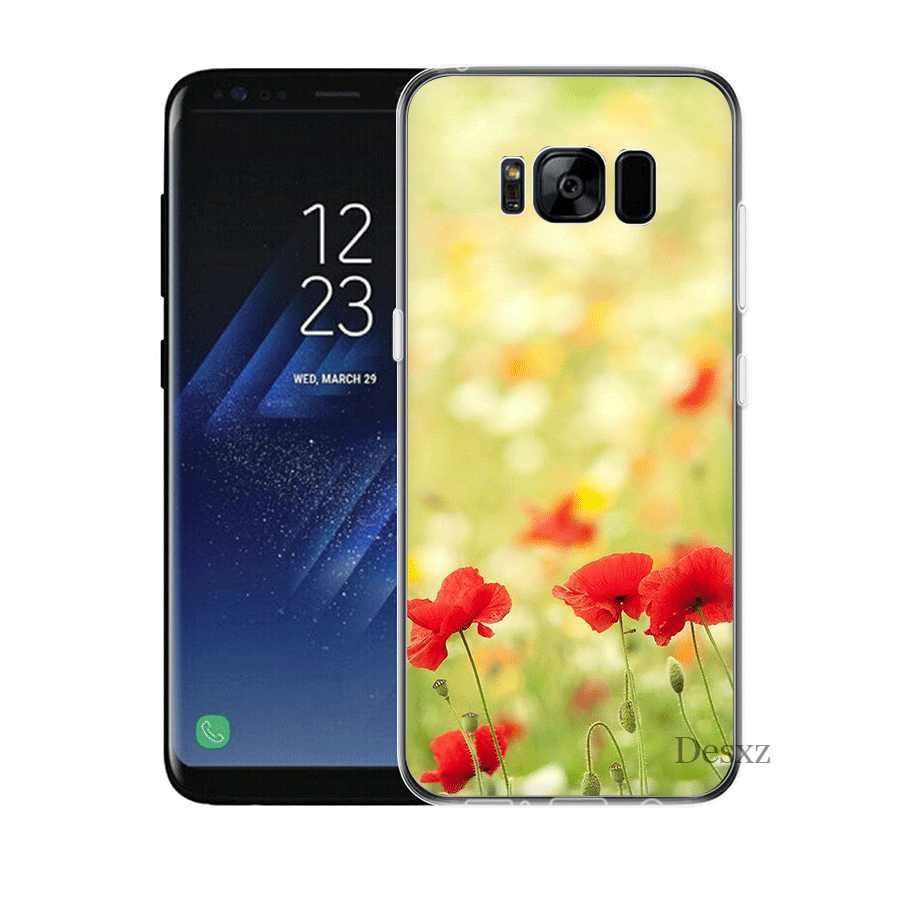 Etui na telefon komórkowy do Samsung A3 A5 A6 A7 A8 A9 A10 A20 A30 A40 A50 A60 twarda okładka czerwony maki na czarny styl