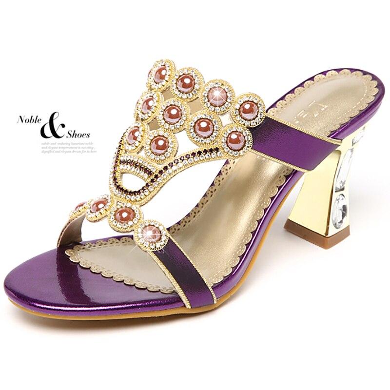 Шлепанцы; женская летняя обувь; модные шлепанцы из натуральной кожи на высоком каблуке с кристаллами и агатом; шлепанцы с открытым носком; пикантная женская обувь - 5
