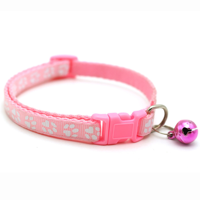 Kitten Paw Print Collar With Bell  5