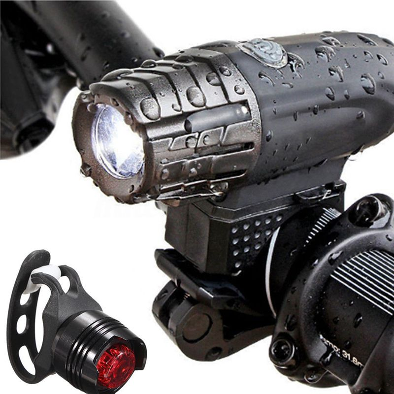 USB Rechargeable LED Bicycle Bright Bike Front Headlight Rear Tail Light Set in Bicycle Light from Sports Entertainment