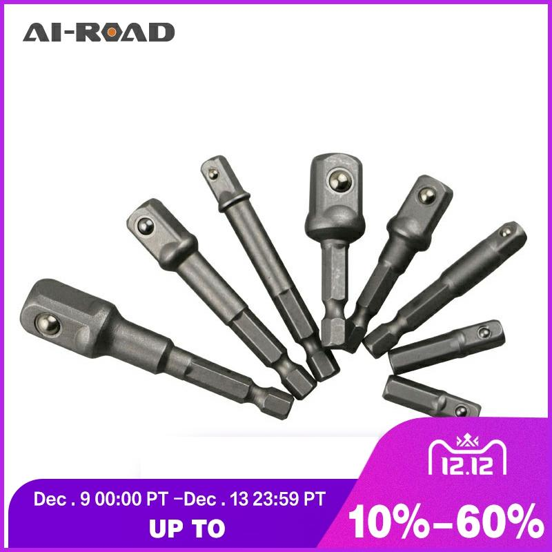 8 Pieces Socket Adapte Bits Set Hex Drill Nut Driver Power Shank 1/4