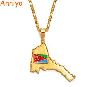 Anniyo Эритрея карта кулон в форме флага ожерелья для женщин мужчин золотистые Этнические украшения Африка карты Эритрейская #032506