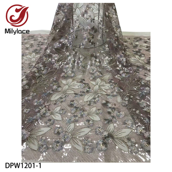 French Tulle Lace with Sequins Nigerian Mesh Lace Fabric African French Tulle Lace Fabric Bridal DPW1201