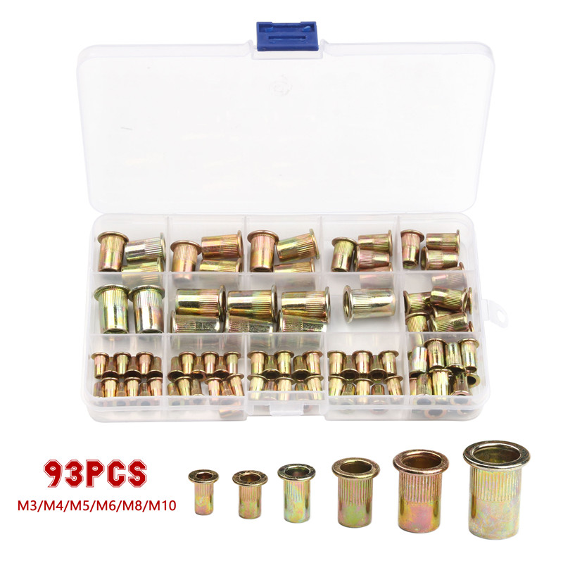 93Pcs Aluminum Rivet Nut M3 M4 M5 M6 M8 M10 Aluminum Alloy Rivnut  Insert Nutsert Cap Rivet Nut Flat Head Threaded Rivet