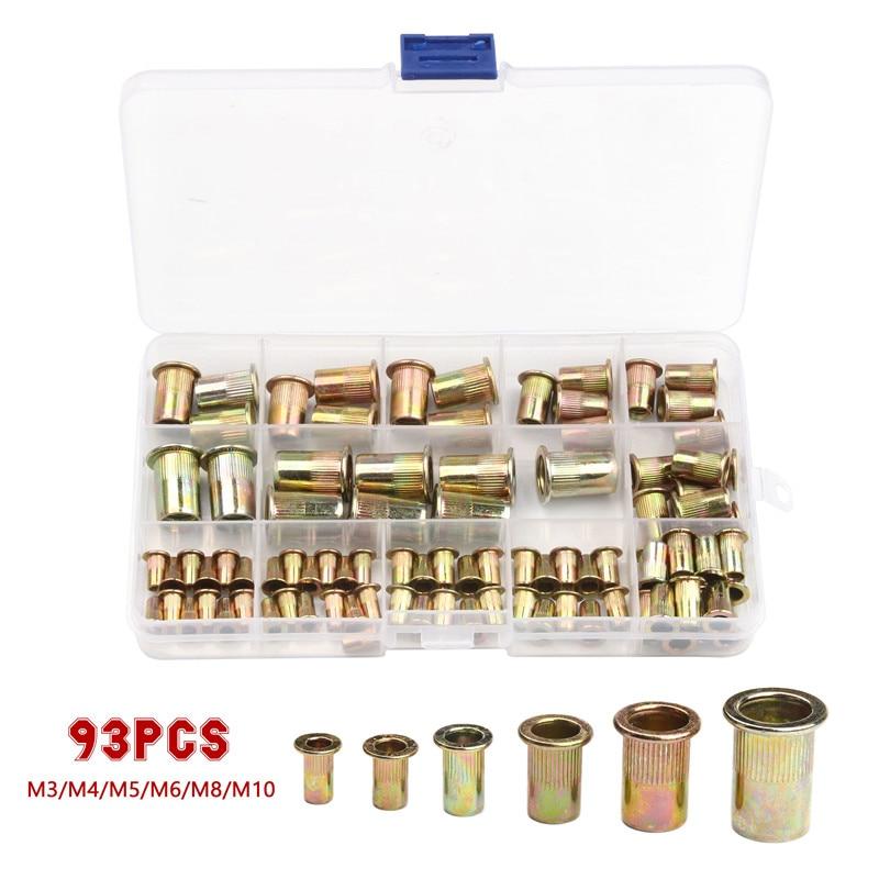 93Pcs Aluminum Rivet Nut M3 M4 M5 M6 M8 M10 Aluminum Alloy Rivnut  Insert Nutsert Cap Rivet Nut Flat Head Threaded Rivet
