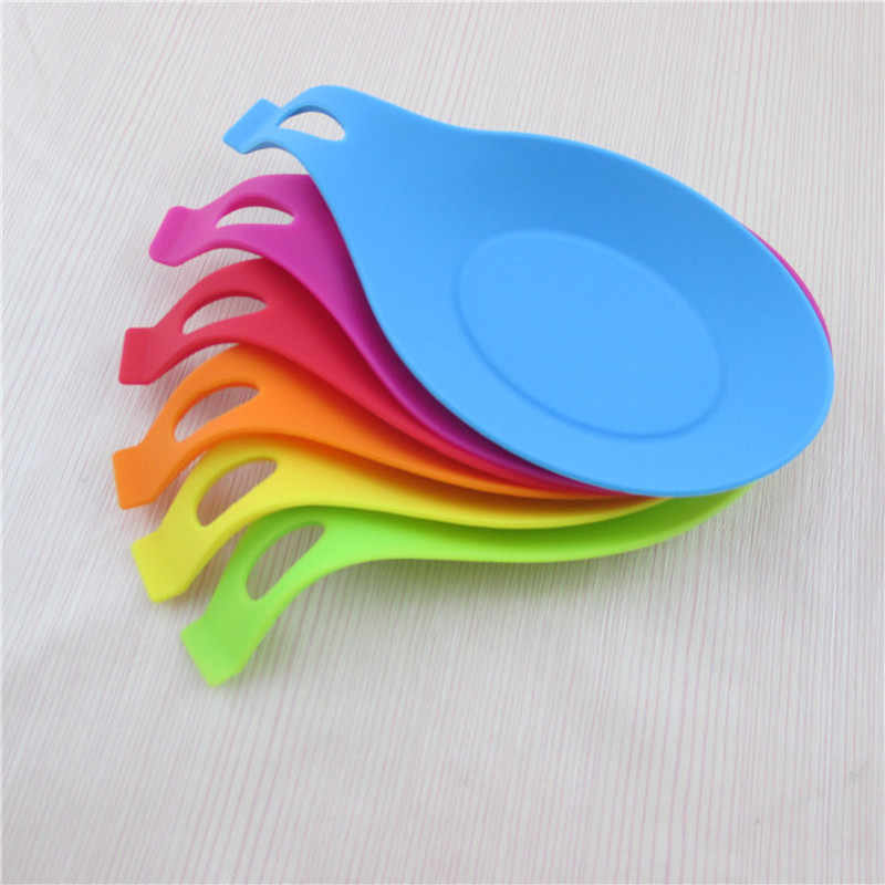 Food Grade Silicone Heat Resistant Spoon Rest Utensil Spatula Holder Gadget Kitchen Storage Rack Tool Aid Home Organizer