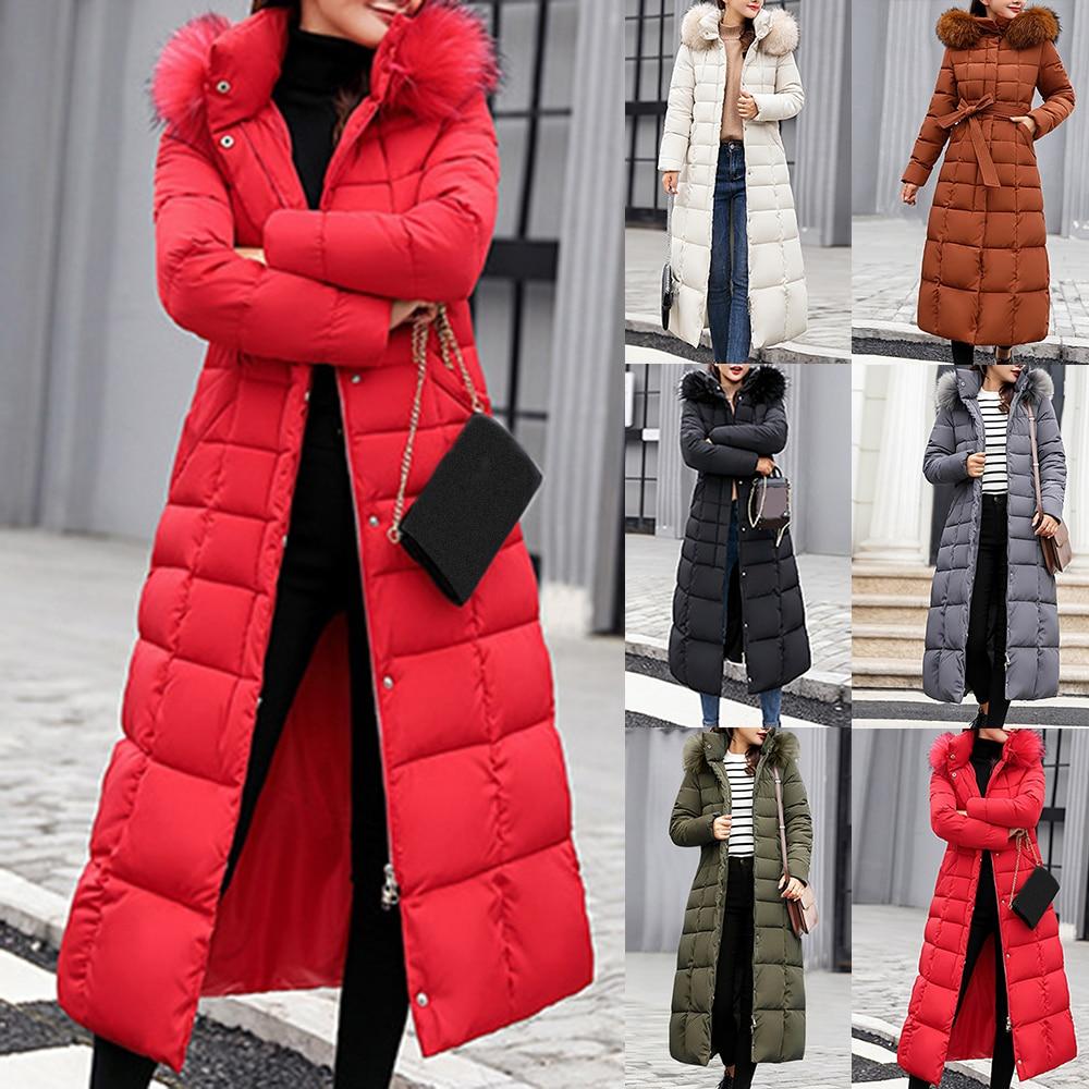 Long Winter Coat Women Parkas Slim Casual Hooded Fur Collar Warm Jacket Outerwear Coat Streetwear Chaqueta Mujer Veste Femme