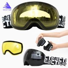 Otg esqui snowboard óculos intercambiáveis lente amarela magnética óculos de proteção de neve uv400